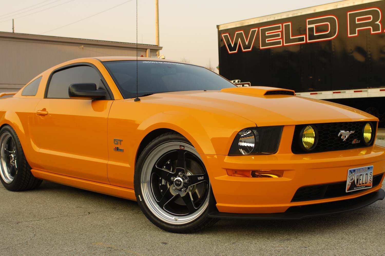 Orange Ford Mustang Weld S71 Wheels