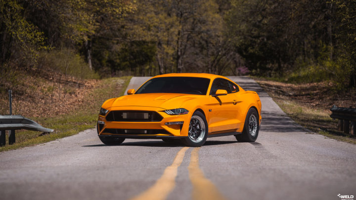 2019 Orange Fury Ford Mustang GT - Weld S71 Forged Wheels