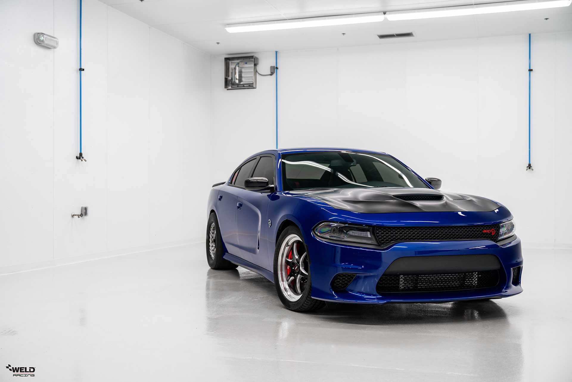 Blue Dodge Charger Hellcat - WELD S79 Beadlock Forged Drag Racing Wheels