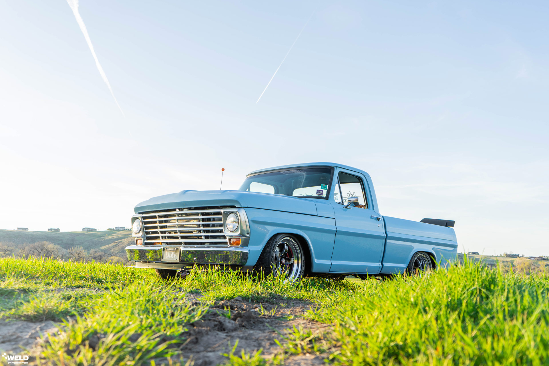 Powder Blue 1969 Ford F100 Pick Up Truck - WELD S71 Forged Wheels