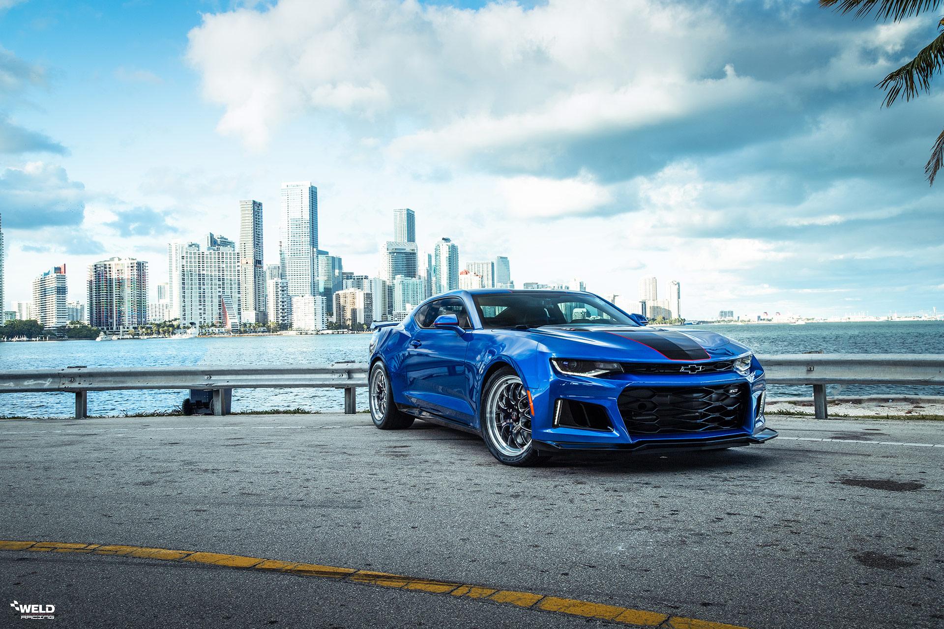 Blue Chevrolet Camaro ZL1 - WELD S77 Three-Piece Forged Wheels