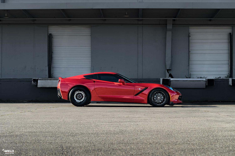 Red C7 Corvette Stingray - WELD Vitesse Beadlock - V Series Front Runner Wheels