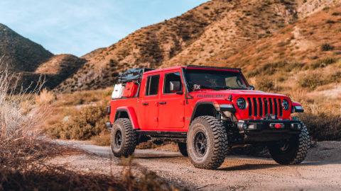 Red Jeep Gladiator - WELD Ledge Beadlock Offroad Wheels in Matte Black