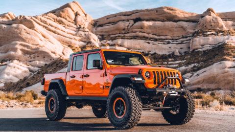 Orange Jeep Gladiator - WELD Ledge Beadlock Offroad Wheels - Satin Black w Orange Ring
