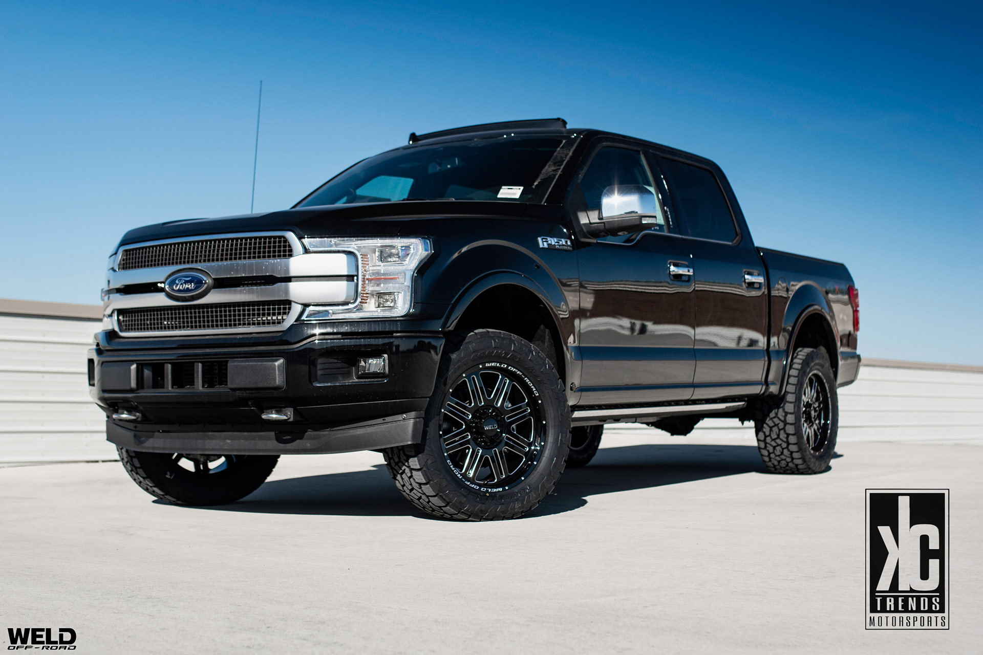 Black Ford F150 Platinum - WELD Off-Road Chasm Wheels in Gloss Black w/ Milled Accents